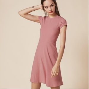 Reformation Rosy Pink Ally Ribbed Dress